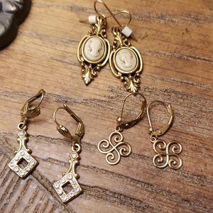 Vintage earring lot 1920s styles,  pair